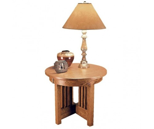 Bridger Mission Round Spindle End Table