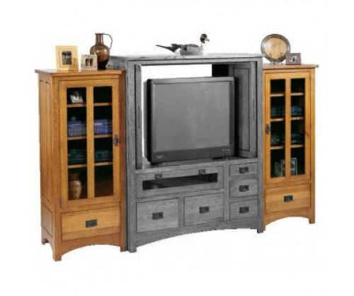 Gallatin Classic Entertainment Cabinet Glass Towers