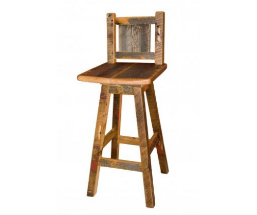 Reclaimed Swivel Seat Bar Stool w/ Back 24"