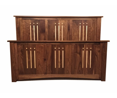 Arts & Crafts Walnut Bed w/Maple Inlays