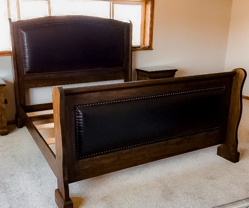 Custom Leather & Tacks Sleigh Bed