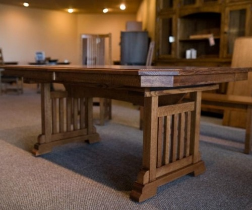 Bridger Mission Trestle Table with Canted Corners