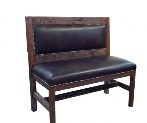 Reclaimed Barnwood & Leather Bench