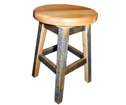 Reclaimed Round Seat Bar Stool - 24"