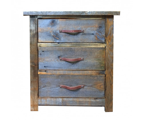 Reclaimed 3 drawer nightstand